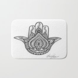 Hamsa hand Illustration (Evil Eye) protection/good luck - By Ashley Rose Standish Bath Mat