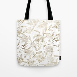 Elegant white gold modern trendy floral Tote Bag
