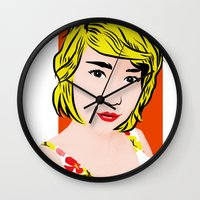 popart Wall Clocks featuring popart  by Biansa Naiyananont