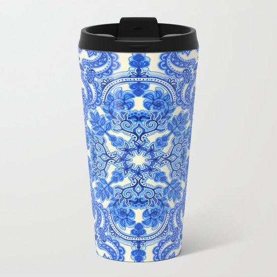 Cobalt Blue & China White Folk Art Pattern Metal Travel Mug