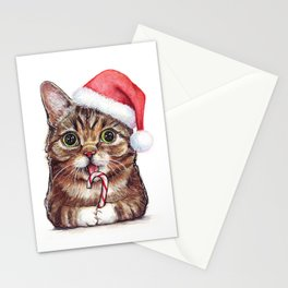 Christmas Cat in Santa Hat Whimsical Holiday Animals Stationery Cards