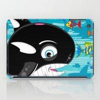 killer whale iPad Cases featuring Killer Whale & Fish by markmurphycreative