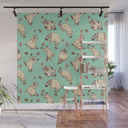Raccoons Love Wall Mural