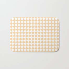Small Diamonds - White and Sunset Orange Bath Mat