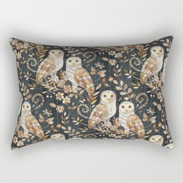 Wooden Wonderland Barn Owl Collage Rectangular Pillow