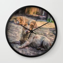 Two dogs resting Wall Clock