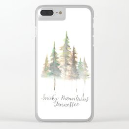 Smoky Mountains Tennessee Watercolor Clear iPhone Case