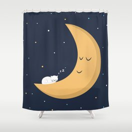 The Cat and the Moon Shower Curtain