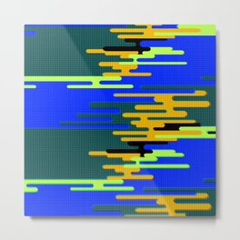Blue Green Yellow 8Bit Clouds Metal Print