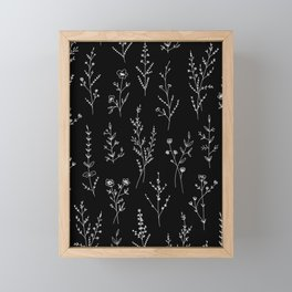 New Black Wildflowers Framed Mini Art Print