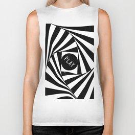 Black and White Twirl (Customizable Label) Biker Tank