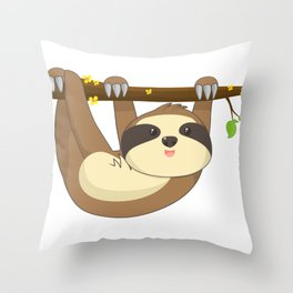 Cute Hanging Sloth In a tree Animal T-Shirt Throw Pillow