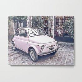pink vintage car Metal Print