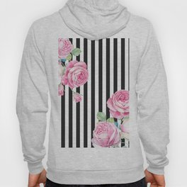 Black white blush pink watercolor floral stripes Hoody