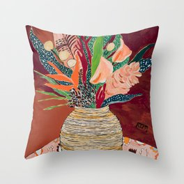 Autumnal Bouquet of Flowers in Woven Basket Vase on Warm Auburn Rust Still Life Fall Floral Painting Throw Pillow