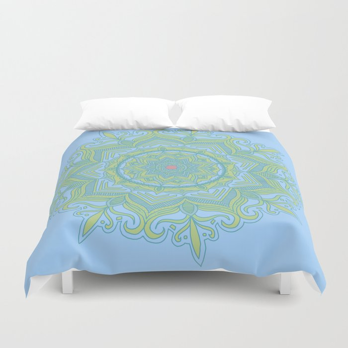 Blue and Green Flower Mandala Duvet Cover