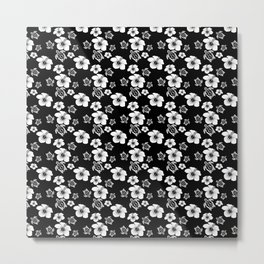Black And White Floral And Turtle Hawaiian Pattern Metal Print