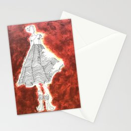 Gesture Lady in Dress, Red Stationery Cards