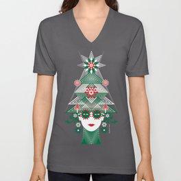 Christmas woman tree Unisex V-Neck