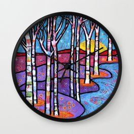 Yellow Moon on the Rise Magical Aspen Forest Wall Clock