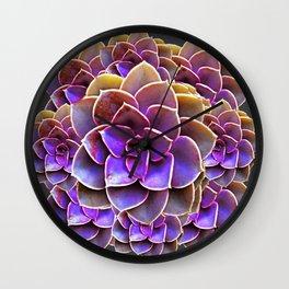 PURPLE-CREAM SUCCULENT ROSETTES Wall Clock