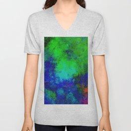 Awaken - Blue, green, abstract, textured painting Unisex V-Neck