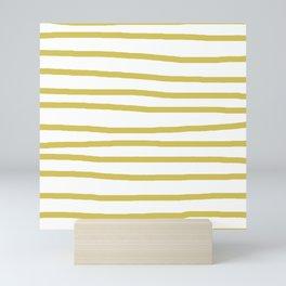 Simply Drawn Stripes Mod Yellow on White Mini Art Print