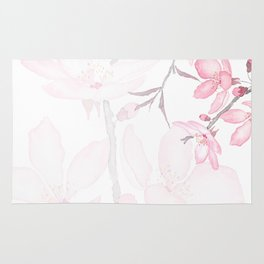 pink cherry blossom macro 2018 Rug