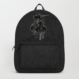 Rustic cowboy with rifle riding horse classic sketch Backpack