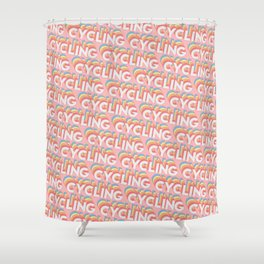 Cycling Trendy Rainbow Text Pattern (Pink) Shower Curtain