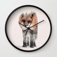 kitsune Wall Clocks featuring hondo kitsune by Peg Essert