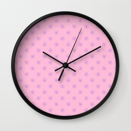 Lavender Violet on Cotton Candy Pink Snowflakes Wall Clock