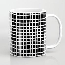 black and white random cross hatch lines checker pattern Coffee Mug