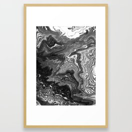Izumi - spilled ink marble landscape abstract painting handmade art print texture black and white Framed Art Print