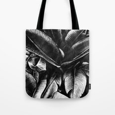 Dark Palm Leaves Tote Bag