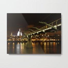 St Paul's Cathedral and Millennium Bridge, London Metal Print