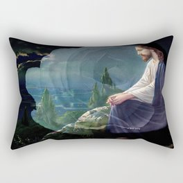 Jesus Christ On Mount Olive With White Rose By Annie Zeno Rectangular Pillow