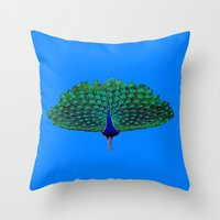 peacock Throw Pillows featuring Peacock by Crayle Vanest