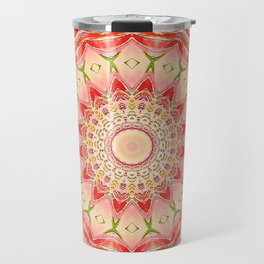 Mandala Tequila Sunrise -- Kaleidoscope of Vibrant Sunny Colors Travel Mug