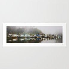 Boats in the Missippi fog Art Print