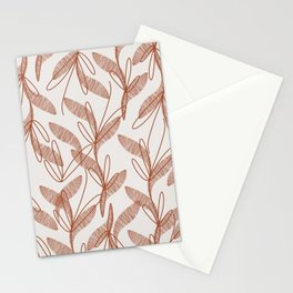 Etched Leaves Botanical Pattern in Rust and Palest Taupe Gray Stationery Cards