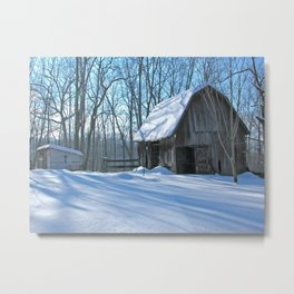 Snow covered barn from my homeplace Metal Print