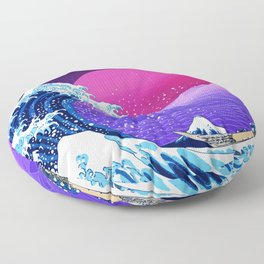 Synthwave Space: The Great Wave off Kanagawa #2 Floor Pillow