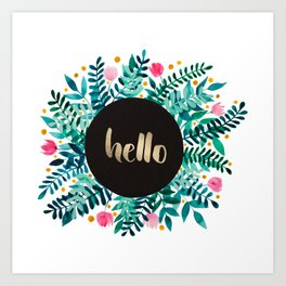 Hello flowers and branches - green and pink Art Print