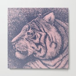 Tiger Pastel Color Graphic Metal Print