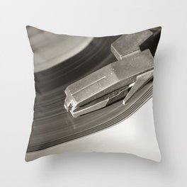 Music From a Vintage 45 RPM Record Playing on a Turntable 3 Throw Pillow