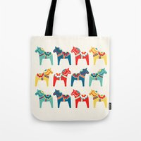 swedish Tote Bags featuring Swedish Horses by Running River Design