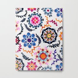 Happy Color Suzani Inspired Pattern Metal Print