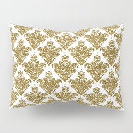 Faux White and Gold Glitter Small Damask Pillow Sham