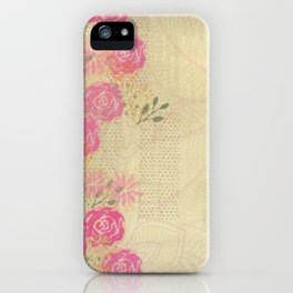 Woodland Fairytale: Wild rose border on light green (or yellow) iPhone Case